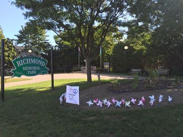 Richmond Girl Guides create display of pinwheels to mark International Day of Peace