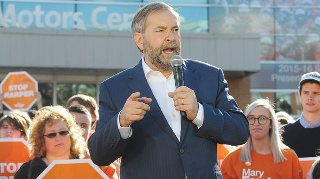 NDP leader Thomas Mulcair campaigning with NDP candidate Mary Fowler