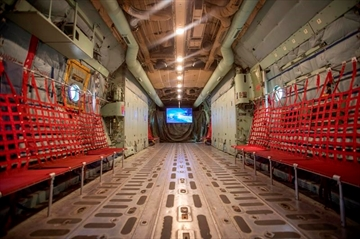 In this Tuesday, May 14, 2019 photo, a converted C-130 is a new STEM education classroom at Hill Aerospace Museum in Ogden, Utah. The Standard-Examiner reports the Vietnam era cargo plane has been converted into a classroom for Science, Technology, Engineering and Math students and attached to a museum at the Hill Air Force Base near Ogden. (Ben Dorger/Standard-Examiner via AP)