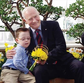 Seven year-old cancer patient Michael Meehan helped launch the Canadian Cancer Society's Daffodil Campaign on April 1 with Gov.-Gen. David Johnston. The campaign sells daffodil pins and fresh daffodils to help raise funds for cancer research.