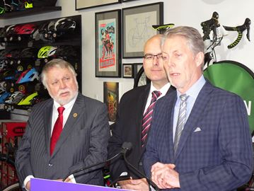 Mayor Fred Eisenberger joins Hamilton MPP Ted McMeekin for announcement