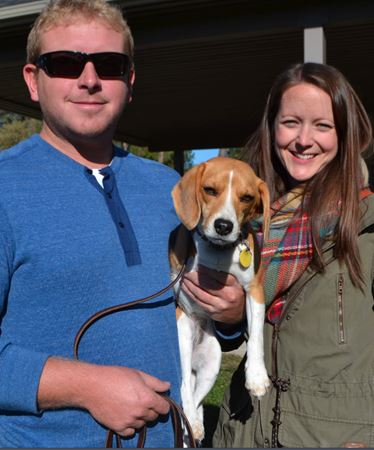Darren Hulme and Stephanie Pierre pose with Lou, their special beagle.