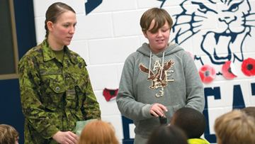 OSHAWA -- Captain Jackie Power spoke to Beau Valley Public School students about her experiences in the Canadian military. The officer attended the school, where her brother, Mack Alexander, is a current student at the school. November 18, 2013