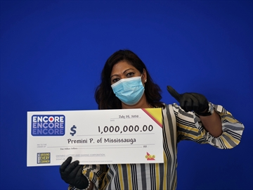 Mississauga resident Premini Paranthaman won $1 million on a July 10 Lotto Max draw.
