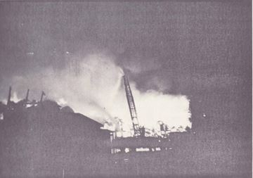 Firefighters battle the Maple Leaf Mill blaze in October 1960.