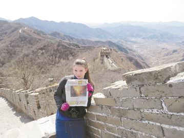 Tiffany Bessec stands on the part of the Great Wall of China called Mutianyu (90 km north of Beijing) during a family vacation to China.