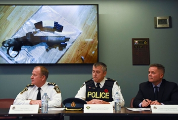 City police Chief Scott Gilbert, left, OPP Det. Insp. Jim Walker and city police Deputy Chief Tim Farquharson hold a press conference at the Peterborough Police Service station in Peterborough, Ont. on Friday, Nov. 1, 2019. The meeting was held to release details of a large drug and weapon bust that happened Wednesday.