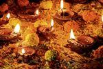 Clay diya lamps lit during Diwali Celebration