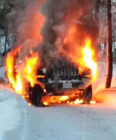 Hummer fire on Swallowdale Road