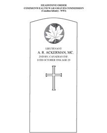 Grave Marker For Lieut. Arthur Ross Ackerman