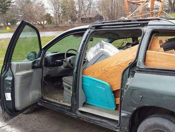 Not roadworthy: Van with no doors, windows, plates taken off the road