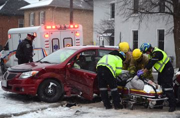 One woman was sent to hospital after a crash at the corner of Rubidge and King Street Wednesday (Dec. 11)