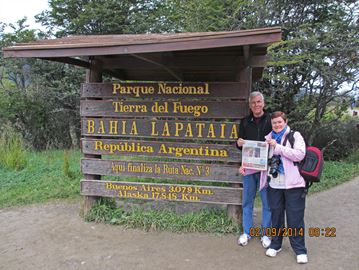 Al Glasspoole and Mary-Ellen Leeder visit 'The End of the World'  — Tierra del Fuego National Park in Argentina — during a South American cruise.