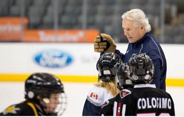 Former Toronto Maple Leafs star Darryl Sittler provides instruction to youngsters, including two Brampton teams, during the Ford Skills and Drills event April 6 at the Air Canada Centre.