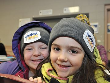 UXBRIDGE -- Cousins Alice Ferraro, left, and Ellen McDonald were all smiles before they headed out for a Coldest Night of the Year two-kilometre walk on February 22. The inaugural two-, five- and ten-kilometre walk to raise funds and awareness for the hungry, hurting and homeless folk was held at the Uxbridge Arena hall. The popular event, hosted by North House homelessness prevention and outreach, drew folks from Brock, Scugog as well as Uxbridge. More than $21,000 had been pledged at the time of the walk. Pledges are still being accepted for the next two weeks. Visit www.northhouse.ca for further details. February 22, 2014