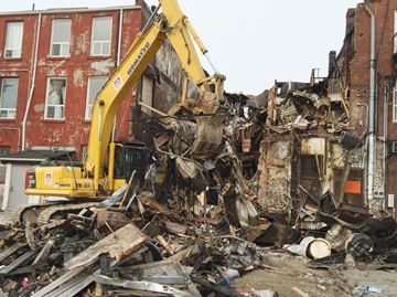 Demolition crews in downtown Whitby