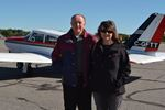 Bob and Kit Ormsby of Kirland Lake were the first to touch down at the Muskoka Airport Saturday for the the fourth annual Almaguin Highlands Air Rally/Poker Run.