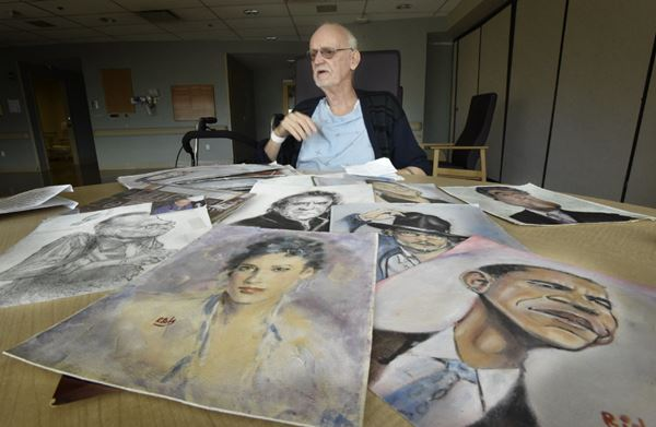Richard Bell, 80, with some of his artwork. | John Rennison, The Hamilton Spectator