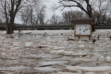 The Grand River completely flooded the park in York.