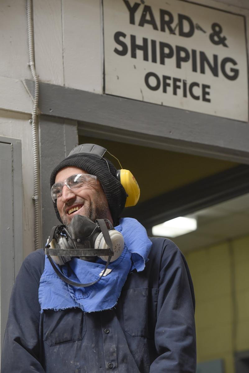 Mohamad Sido works in the grindshop at StressCrete Group, a factory in Burlington.