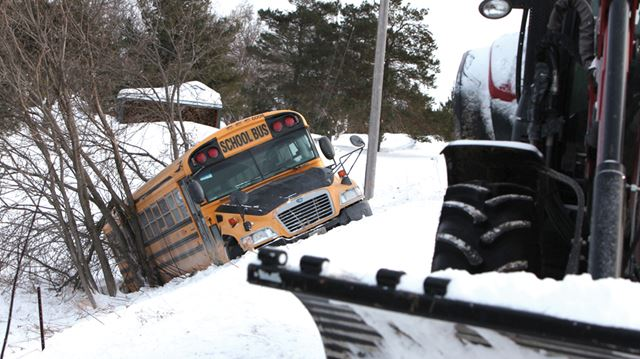 School bus in ditch