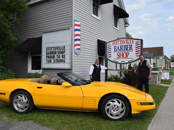 Yellow Corvette at Stittsville Barber Shop attracts attention