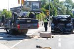 SUV, pick-up truck collision causes rollover at Dupont and Annette streets