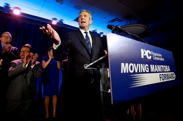 Manitoba PC leader and premier Brian Pallister celebrates winning the Manitoba election in Winnipeg, Tuesday, September 10, 2019. After four weeks of pounding the pavement politicians and supporters in Manitoba had less than 24 hours to take in the results of a provincial election before diving into a federal one. THE CANADIAN PRESS/John Woods