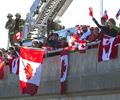 Hundreds of people lined the Montreal Street overpass of Hwy 401 on Friday afternoon to pay their respects as the hearse carrying Cpl. Nathan Cirillo passed by