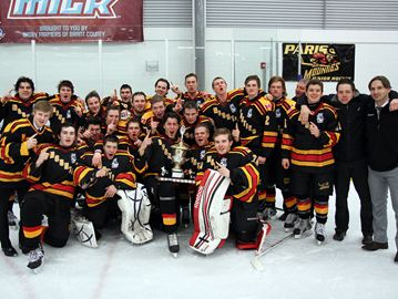 The Paris Mounties pose for a team photo after capturing the Midwestern Junior C Hockey League regular season title.