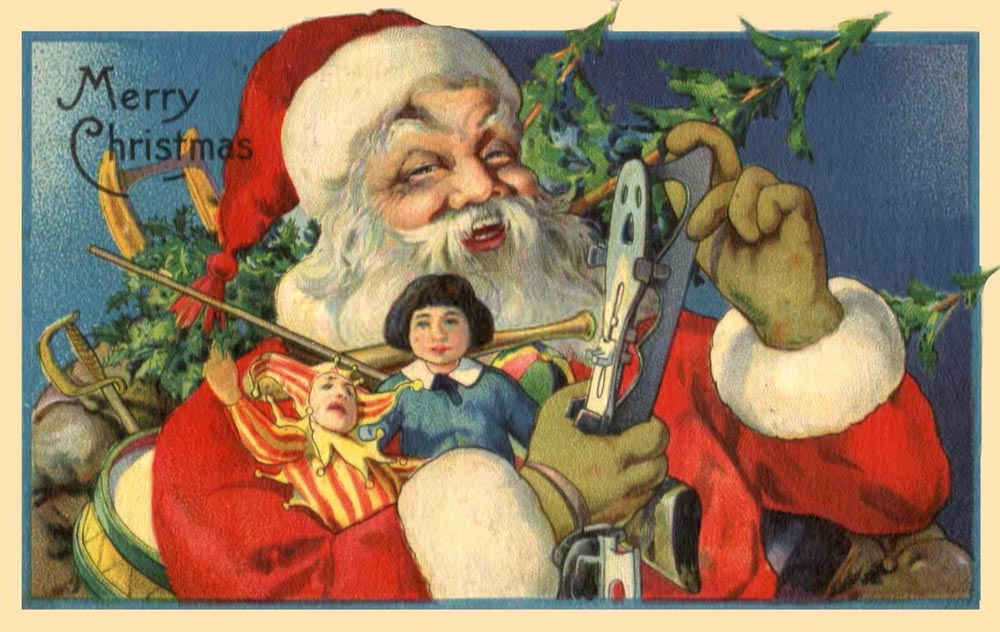 15 vintage Christmas cards that put Santa Claus in motion ...