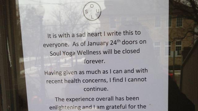 Yoga studio closes