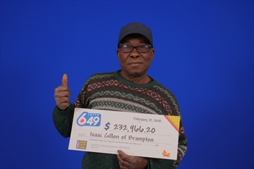 Isaac Gillon of Brampton won a total of $232,966.20 through the Feb. 10 Lotto 6/49 draw as well as his Encore selection.
