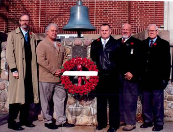 Waterdown Lions (left to right) Andrew Haggert, Mike Manzoni, Jim Duschl, Neil Stephenson and Ron Steepe place a wreath at the stone cairn in front of Memorial Hall on Dundas Street Saturday morning. The monument, which honours local soldiers who served in the First and Second World Wars, had been inaccessible for the past three years, while the hall was under construction and the local club is happy to reinstate the Remembrance Day tradition. Nov. 11, 2017.