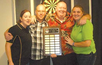 Zone mixed dart winners, competing at branch 616 of the Royal Canadian Legion on Feb. 22, include doubles first place finishers Tracy Boss and Rick Walters from branch 240 Almonte