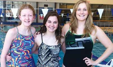 The top three female finishers in the Goulbourn Seahawks recent annual swimathon are, from left, Katie Mackaskill, Tamara Shaw and Michele Delfino.