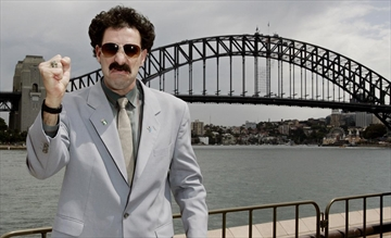 British comedian Sacha Baron Cohen is photographed outside the Sydney Harbor Bridge promoting his movie