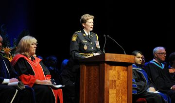 Peel Regional Police Chief Jennifer Evans was the keynote speaker at the Sheridan College Faculty of Applied Health and Community Studies Convocation , Wednesday at the Living Arts Centre.