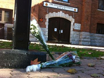 Flowers at the McLaughlin armoury