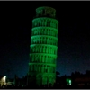 Video, voiced by Liam Neeson, shows the tower of Pisa turning green for St. Patrick's Day
