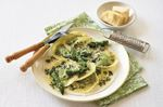 Asparagus ravioli with basil butter