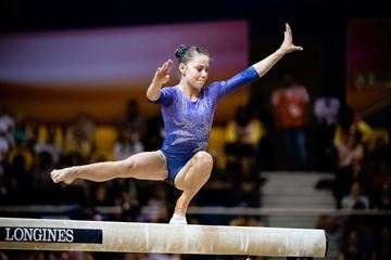 Ana Padurariu of Whitby was the picture of concentration during the beam final of the 2018 FIG Artistic Gymnastics World Championships in Doha, Qatar. She won a silver medal.