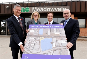 From left, Mike Wolczyk, Vice President, Corridor Infrastructure, Capital Projects Group, Metrolinx, Councillor Pat Saito, Ward 9, Bob Delaney, MPP for Mississauga-Streetsville and Steven Del Duca, Minister of Transportation at Meadowvale GO Station Wednesday to announce the next step in redevelopment of the site. Nov 15, 2017.