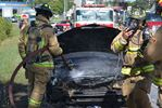 Car fire backs up Dunlop Street traffic at Hwy. 400 in Barrie