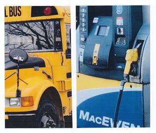 School bus and diesel pump
