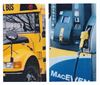 School bus and diesel pump