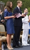 The Duke and Duchess of Cambridge take part in a religious ceremony on HMCS Montreal in Quebec City , Sunday July 3. Kate is wearing a dress by Canadian designer Erdem.