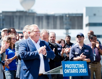 Ontario premier-designate Doug Ford announces his commitment to keeping the Pickering Nuclear Generating Station in operation until 2024 in Pickering, Ont., on Thursday, June 21, 2018.