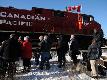 The CP Holiday Train rolled into Midhurst right on time Friday.