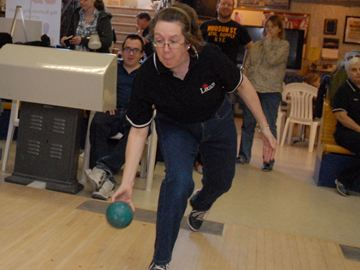 Legion member Bonnie Walker bowls at the Bowl for Kids Sake event in support of Big Brothers Big Sisters of York at Bradford Bowl Sunday, March 30.